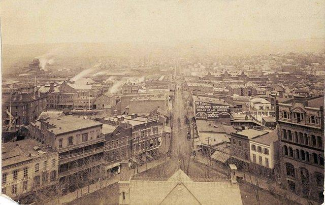 1887 Public Square looking from the top of the old Luzerne County Courthouse down East Market Street towards the Heights