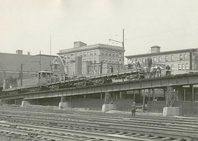 1947 photo of the Wilkes-Barre Railway Corp. trestle over Lehigh Valley Railroad tracks