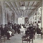 On the front porch of the Wyoming Valley House (Hotel) on South River Street in Wilkes-Barre - where Guard Insurance Company building is today. c. 1880s