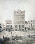 Public Square west side. First National Bank of Wilkes-Barre and various other businesses. Photo taken in 1870. Where the F.M. Kirby Center for the Preforming Arts and the Luzerne Bank Building is today